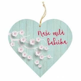 Bohemia Gifts – dekorační dřevěné srdce 13 cm – babička