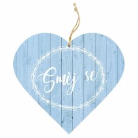 Bohemia Gifts – dekorační dřevěné srdce 13 cm – směj se