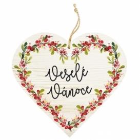 Bohemia Gifts – dekorace dřevěné srdce 13 cm – veselé vánoce