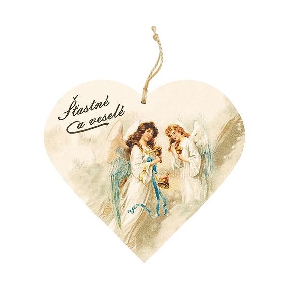Bohemia Darčeky – dekorácie drevené srdce 13 cm – Vianočné anjelov