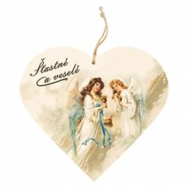 Bohemia Gifts – dekorace dřevěné srdce 13 cm – Vánoce andělé
