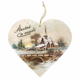 Bohemia Gifts – dekorace dřevěné srdce 13 cm – Vánoce kostel