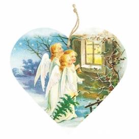 Bohemia Gifts – dekorace dřevěné srdce 13 cm – tři andělé