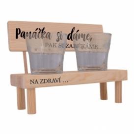 Dřevěný stojánek se skleničkami - Panáčka si dáme