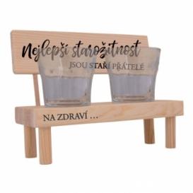 Dřevěný stojánek se skleničkami - staří přátelé