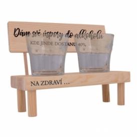 Dřevěný stojánek se skleničkami - úspory