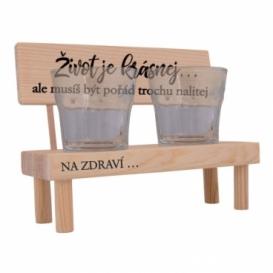 Dřevěný stojánek se skleničkami - život je krásnej
