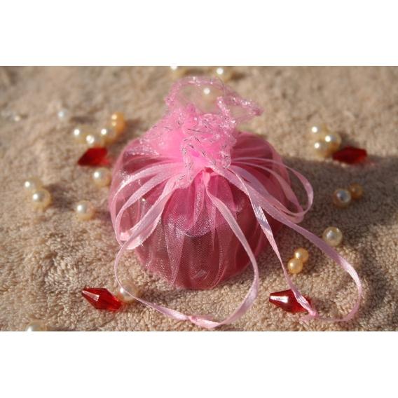 Glycerínové mydlo SRDCE-čučoriedka v organzovom vrecku pink