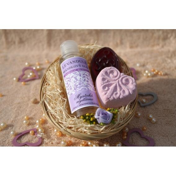 Telový mandľový olej Levanduľa & Glycerínové mydlo a Šumivá tableta v košíku