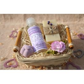 Telový mandľový olej Levanduľa & Olivové mydlo a Šumivá tableta v košíku