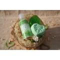 Telový mandľový olej Zelený čaj & Glycerínové mydlo a Šumivá tableta v košíku