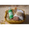 Telový mandľový olej Zelený čaj & Olivové mydlo a Soľ do kúpeľa v košíku