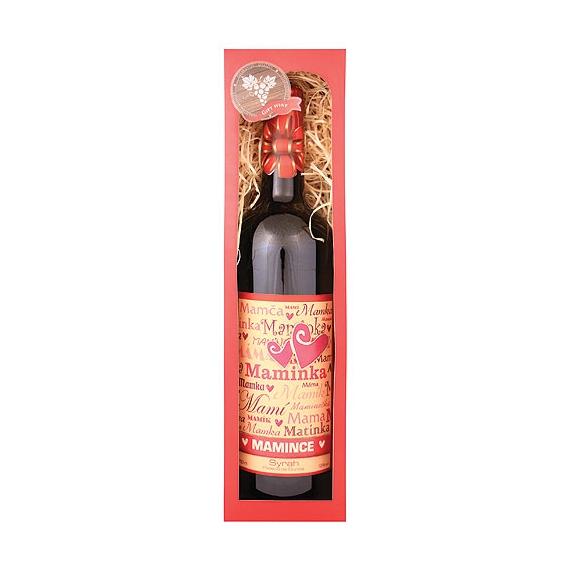Darčekové víno červené Merlot - mamičke 750 ml