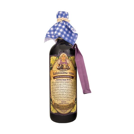 Babičkine maceračné víno červené - čierny bez kvet 750 ml