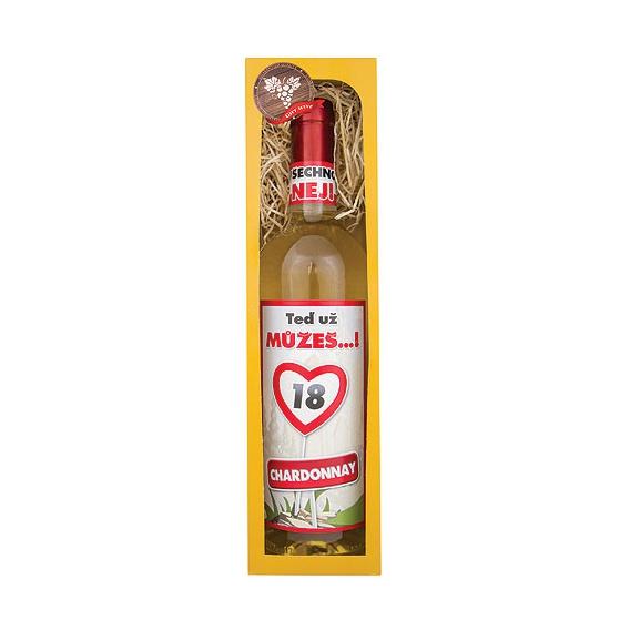 Darčekové biele víno v krabičke 750 ml - Chardonnay - Všetko najlepšie 18