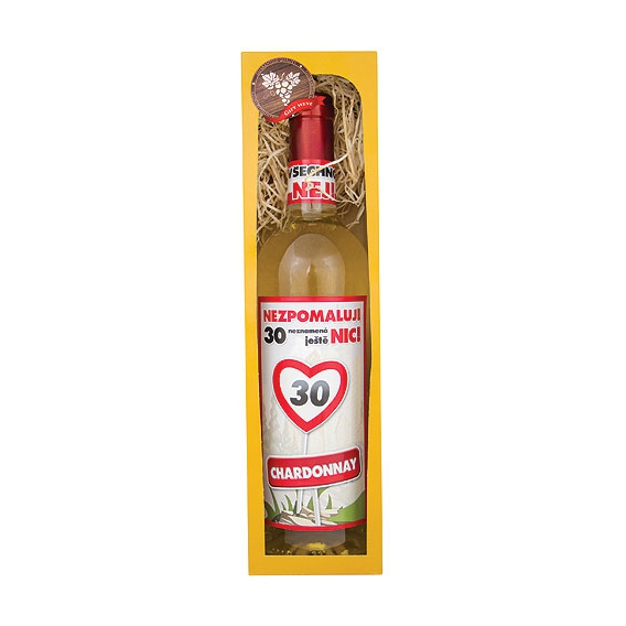 Darčekové biele víno v krabičke 750 ml - Chardonnay - Všetko najlepšie 30