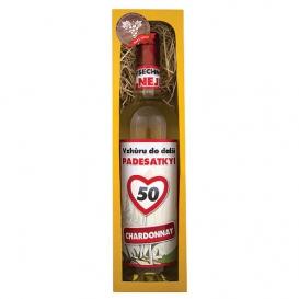 Darčekové biele víno v krabičke  750 ml - Chardonnay - Všetko najlepšie 50