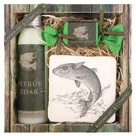 Darčekové balenie pre rybára - sprchový gél, ručne vyrábané mydlo, dekoračná keramická kachlička
