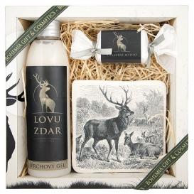 Darčekové balenie pre poľovníka - sprchový gél, ručne vyrábané mydlo, dekoračná keramická kachlička
