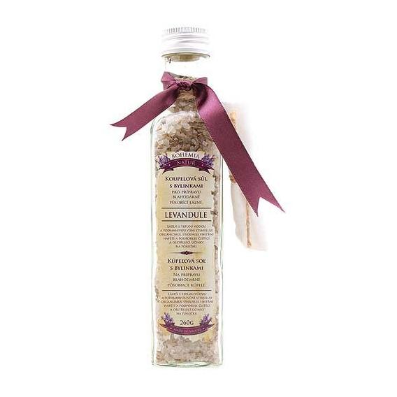 Soľ do kúpeľa s bylinkami upokojujúca s levanduľou v skle 260 g