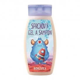Detský čučoriedkový krémový sprchový gél a šampón Monster 250 ml