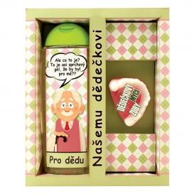 Darčekové balenie pre dedka - sprchový gél 300 ml, ručne vyrábané mydlo (zuby)