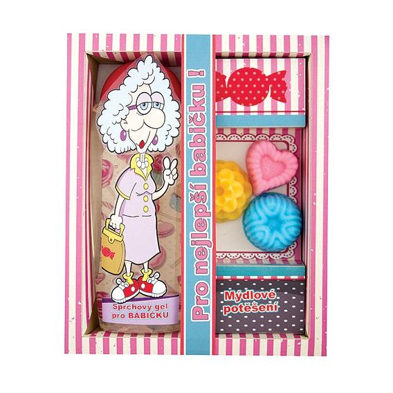 Darčekové balenie pre babičku- sprchový gél 300 ml, 3x ručne vyrábané mydlo