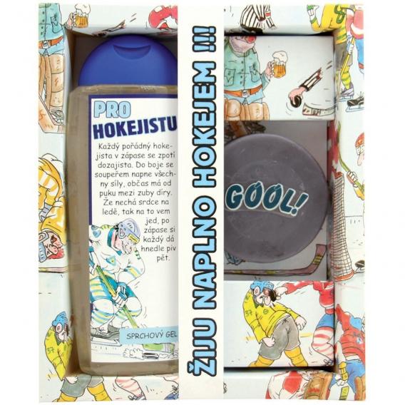 Darčekové balenie pre hokejistu - sprchový gél 300 ml, ručne vyrábané mydlo