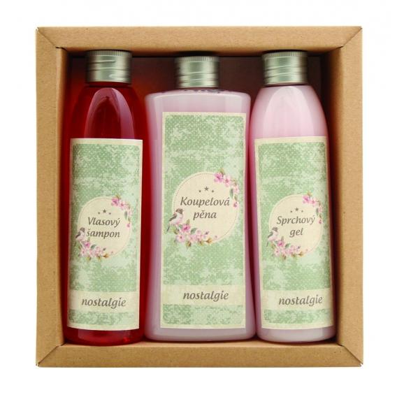 """Darčekové balenie """"NOSTALGIA SPA"""" - pena do kúpeľa 250 ml, sprchový gél 200 ml, vlasový šampón 200 ml"""