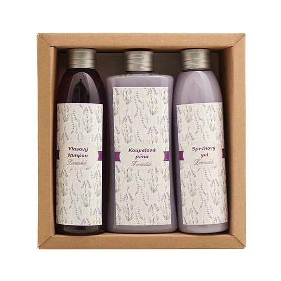 """Darčekové balenie """"LAVENDER SPA"""" - pena do kúpeľa 250 ml, sprchový gél 200 ml, vlasový šampón 200 ml"""
