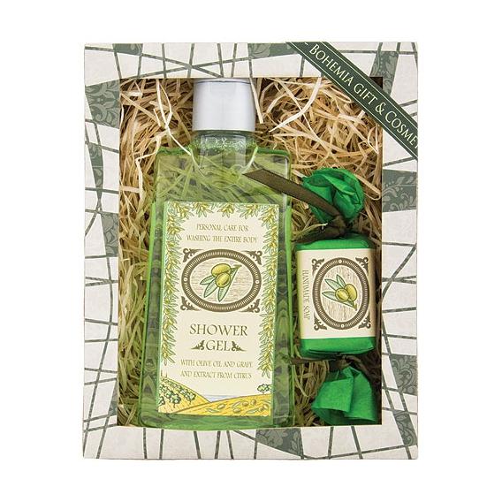 Darčekový balíček - sprchový gél 200ml, mydlo 30g - FRESHLY OLIVES