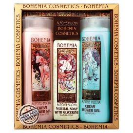 Darčekové balenie Alfons Mucha - dva krémové sprchové gély a toaletné mydlo Med a obilie
