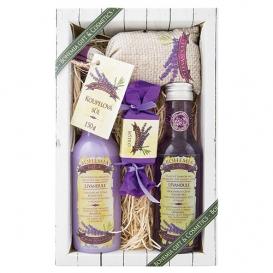Levanduľa darčekové balenie Premium - sprchový gél 200 ml, vlasový šampón 200 ml, soľ do kúpeľa 150 g, mydlo 30 g