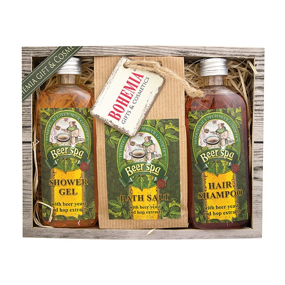 Darčekové balenie Beer SPA - sprchový gél 100 ml, soľ do kúpeľa 150 g, vlasový šampón 100 ml