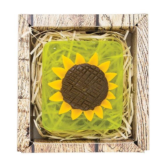 Ručne vyrábané mydlo v krabičke - slnečnica 90 g