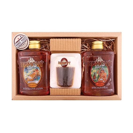 Darčekové balenie rumovej kozmetiky - sprchový gél 300ml, mydlo 70g, olejová kúpeľ 300ml
