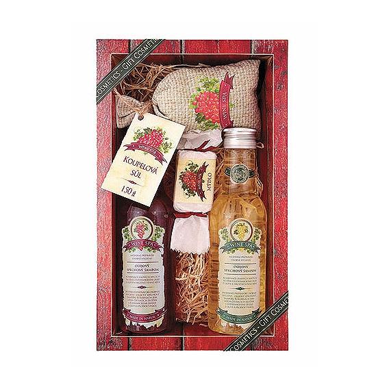 Darčekové balenie Wine Spa - sprchový gél 200 ml, vlasový šampón 200 ml, soľ do kúpeľa 150 g, mydlo 30 g