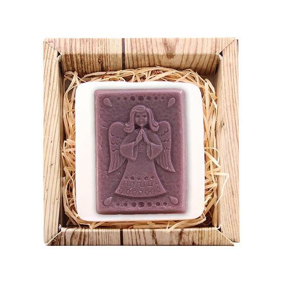 Ručne vyrábané mydlo v krabičke – anjel (fialové) 85 g