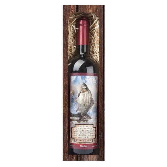 Rybárske červené víno  Merlot - Petrov zdar 0,75 l