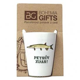 Darčekový porcelánový pohárik pre rybára - šťuka