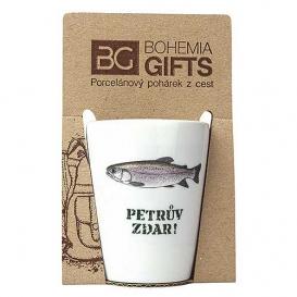 Darčekový porcelánový pohárik pre rybára - pstruh