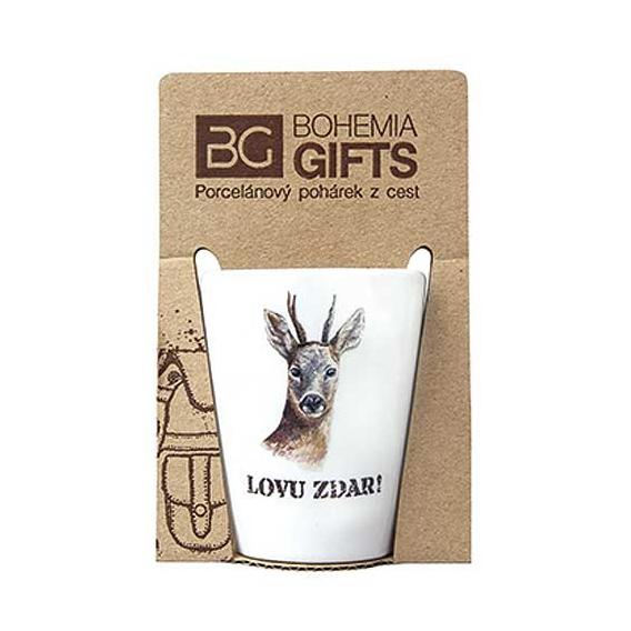 Darčekový porcelánový pohárik pre poľovníka - srnec
