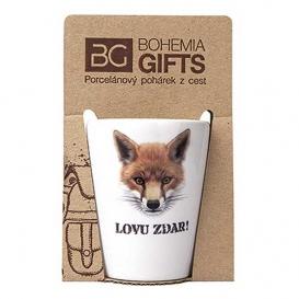 Darčekový porcelánový pohárik pre poľovníka - líška