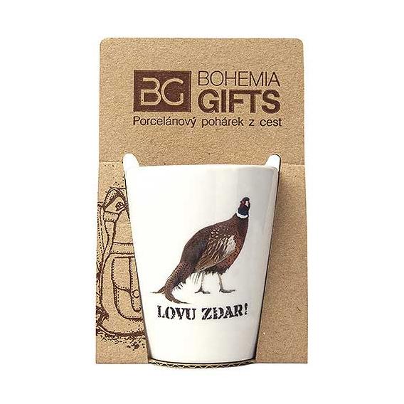 Darčekový porcelánový pohárik pre poľovníka - bažant