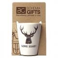 Darčekový porcelánový pohárik pre poľovníka - jeleň