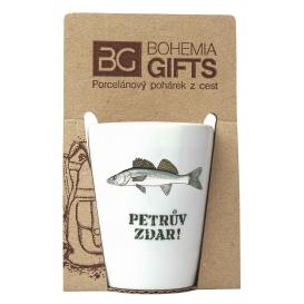 Darčekový porcelánový pohárik pre rybára - pleskáč