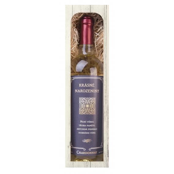 Darčekové biele víno 750 ml - Chardonnay - Krásne narodeniny