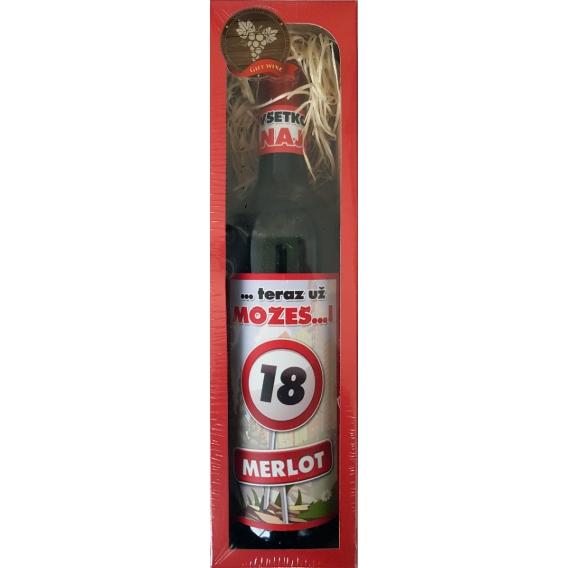Darčekové červené víno v krabičke 750 ml -  Merlot - Všetko najlepšie 18