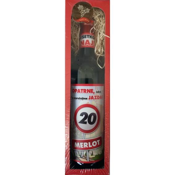 Darčekové víno v červené krabičke  750 ml -  Merlot - Všetko najlepšie 20