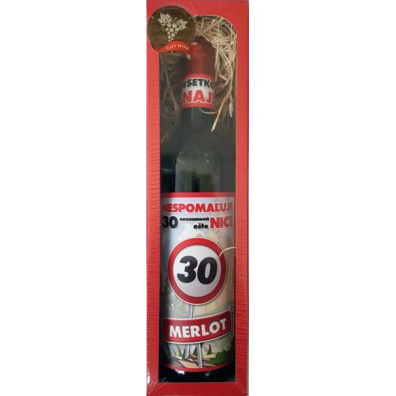 Darčekové  červené víno  v krabičke 750 ml - Merlot - Všetko najlepšie 30
